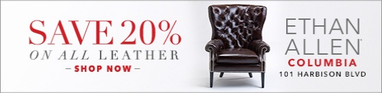 ad for 20% off leather