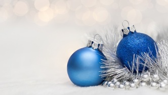 Blue Christmas balls with garland