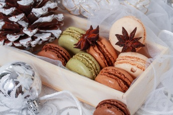 Christmas background with French macarons